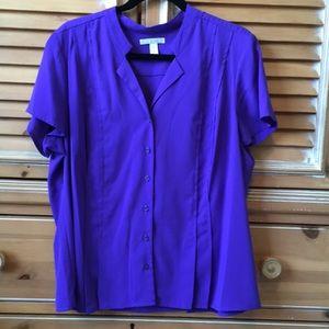 Dana Buchman Dark Purple Short Sleeve Top x-buttn